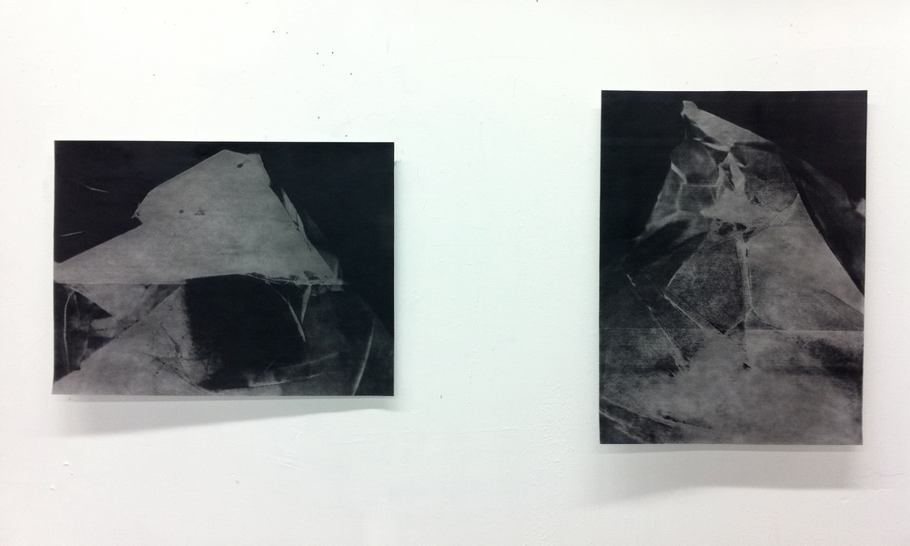 9/14/13 A new series of drawings is developing- charcoal and pastel on laser photocopy enlargement prints. 20 x 27 inches