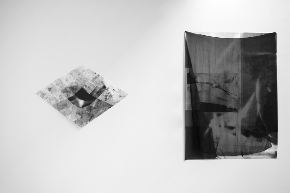 Installation view showing Sectional (left) and Curtain (right)
