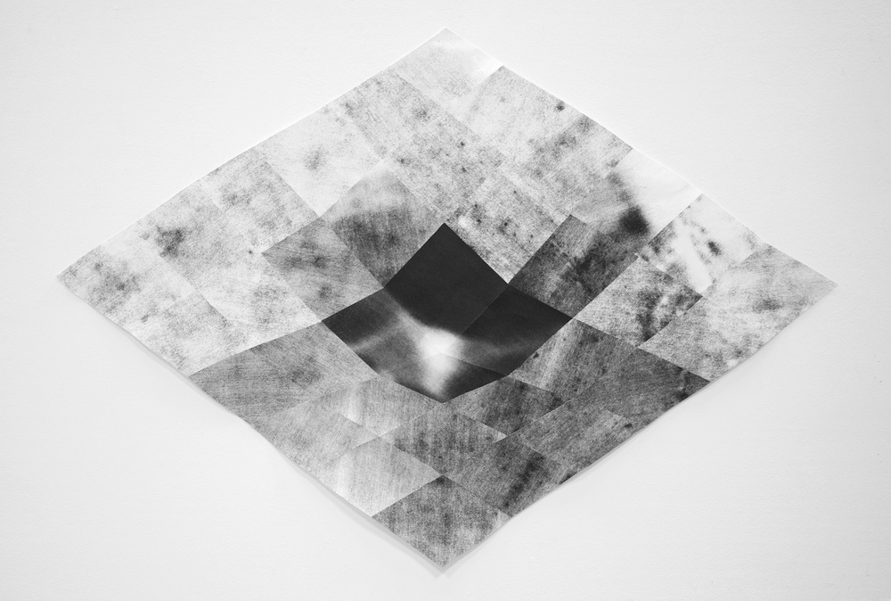 Sectional,  2014  laser toner print assemblage  30 x 30 inches, 72 x 72 cm