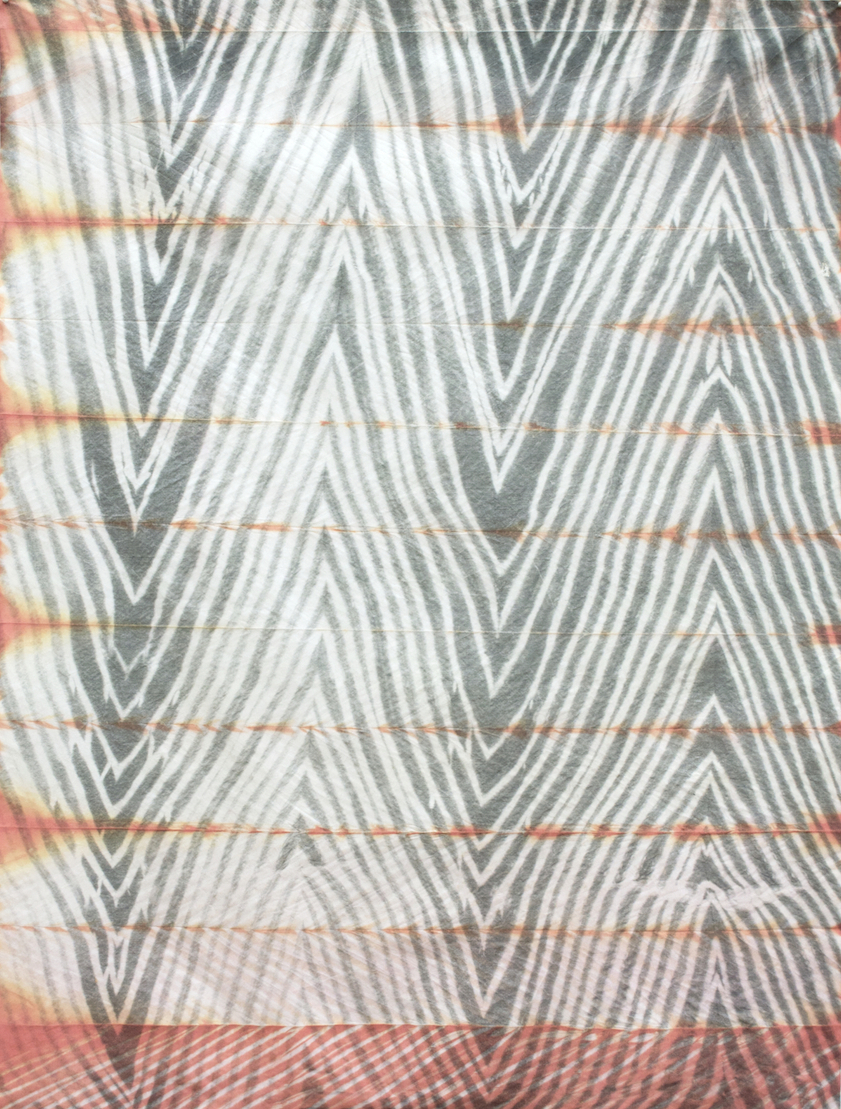 Heat Wave,  2015  shibori dye (orange) on inkjet printed fabric,  48 ½ x 36 inches, 123 x 91 cm