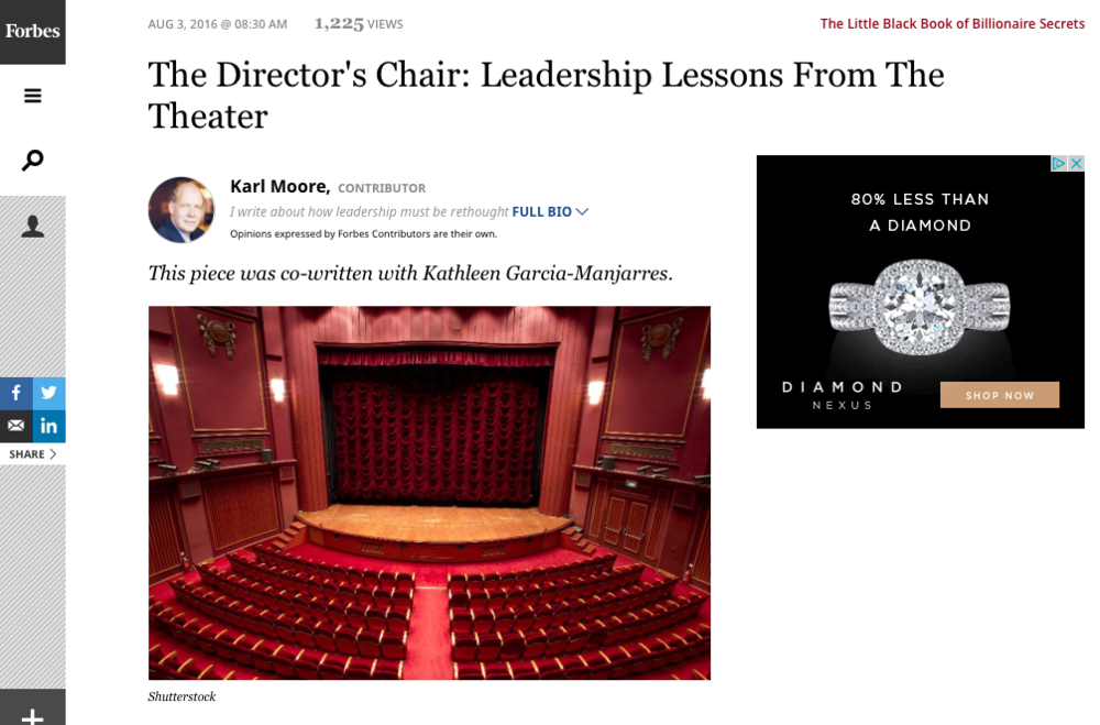The Director's Chair: Leadership Lessons from the Theatre (Karl Moore & Kathleen Garcia-Manjarres)