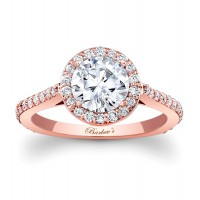 Rose Gold Halo Engagement Ring - 7933LPW