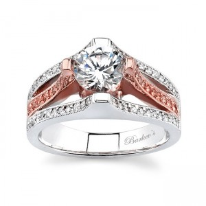 White & Rose Gold Engagement Ring - 6838LPSW