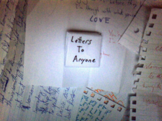 "Cover art from my CD ""Letters To Anyone"" available for purchase through options 1 & 3. Terrible cover photo by me."