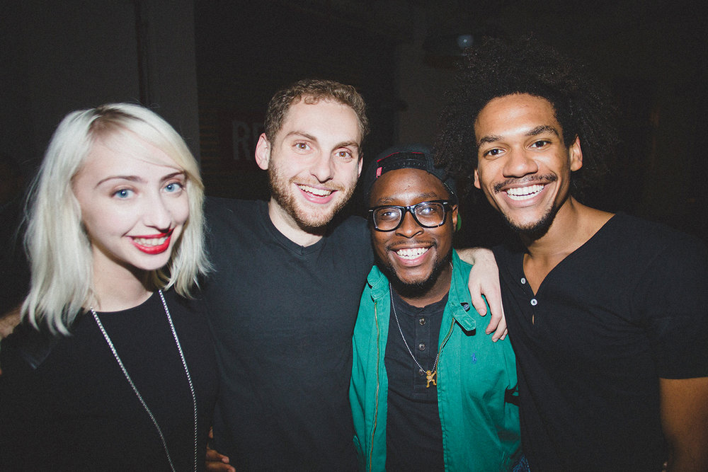 Katy Newton, Drew Weinstein, Gregory Carter, and Ashton Muñiz at the after-party