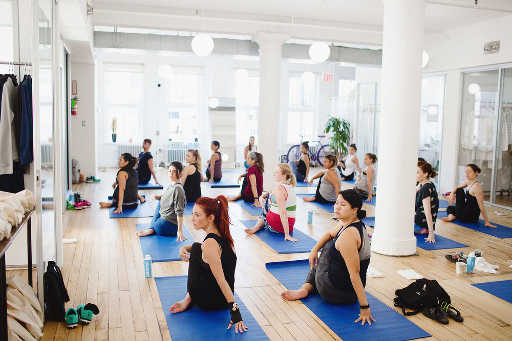 Sarah Slutsky attends Yoga for Bad People Workshop at Brand Assembly