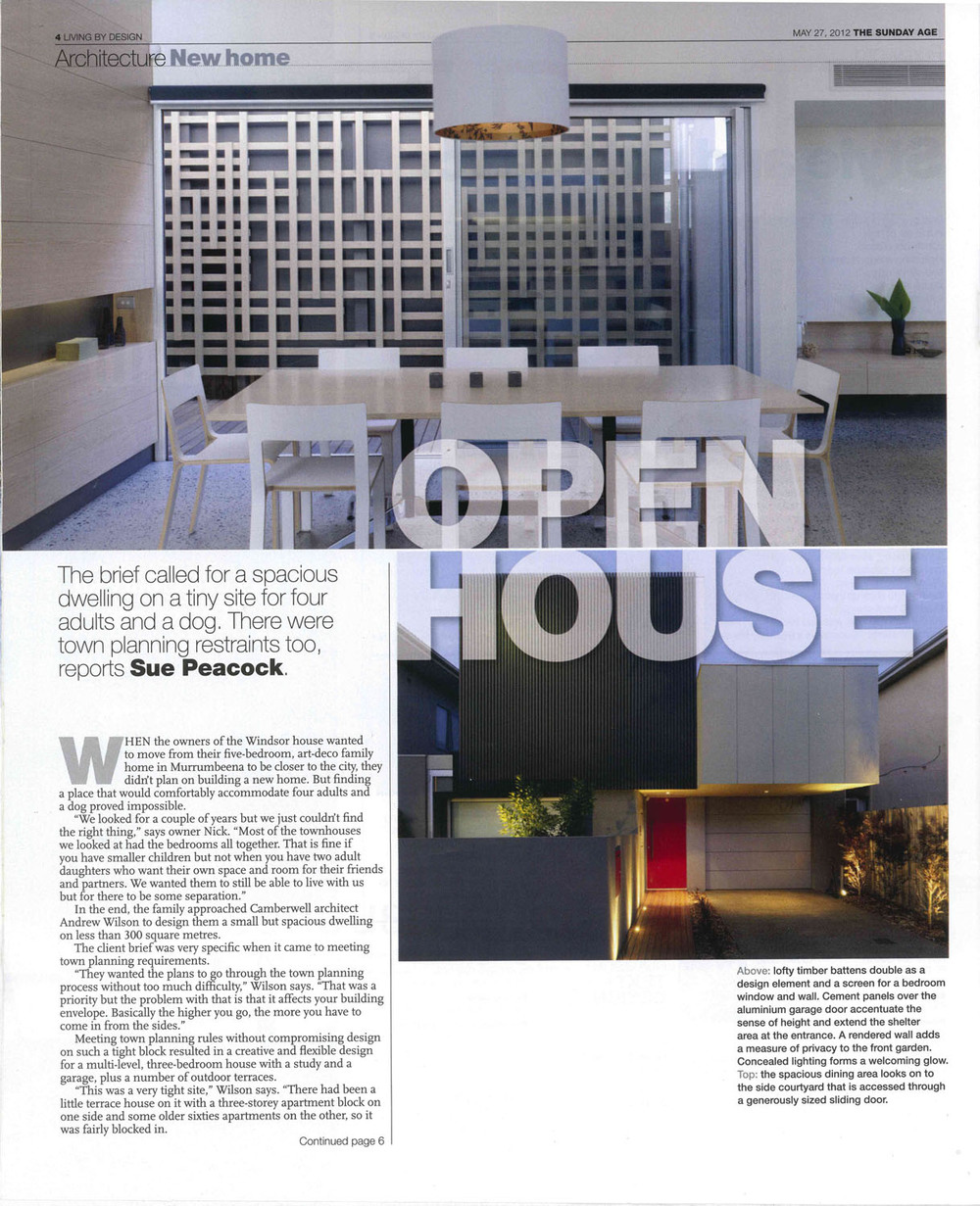 """Open House"" Sunday Age, May 27, 2012"