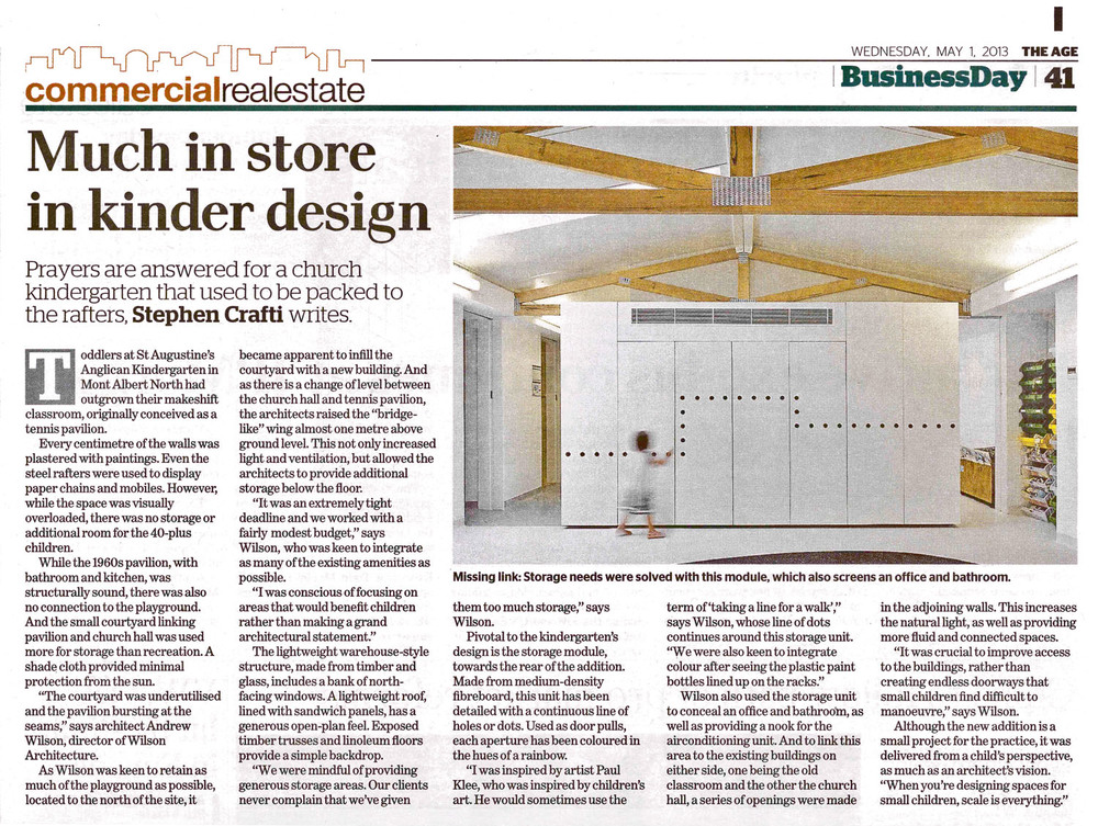 """Much in store in kinder design"" The Age, May 01, 2013   Refer to article in online edition of The Age"