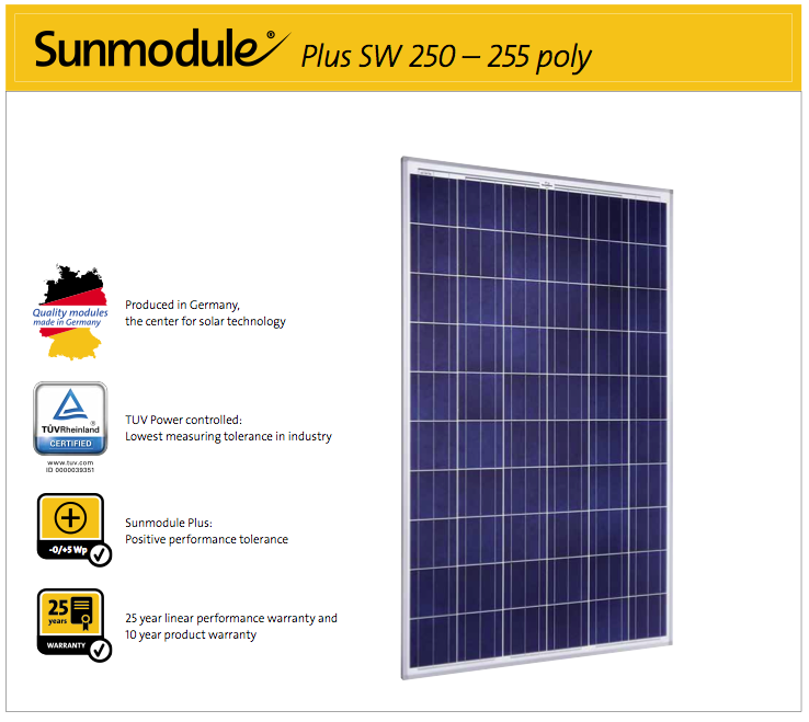 SolarWorld AG relies on Germany as its technology location, thereby ensuring sus- tainable product quality.  The TUV Rheinland Power controlled inspection mark guarantees that the nominal power indicated for solar modules is inspected at regular intervals and thus ensured. The deviation to TUV is maximum 2 percent.  The positive power tolerance guarantees utmost system efficiency. Only modules achieving or exceeding the designated nominal power in performance tests are dis- patched. The power tolerance ranges between -0 Wp and +5 Wp.  With its linear performance warranty covering a period of 25 years, SolarWorld guar- antees a maximum performance degression of 0.7% p.a., a significant added value compared to the two-phase warranties common in the industry. Therefore, the ser- vice certificate offers comprehensive protection for your investment in the long term.