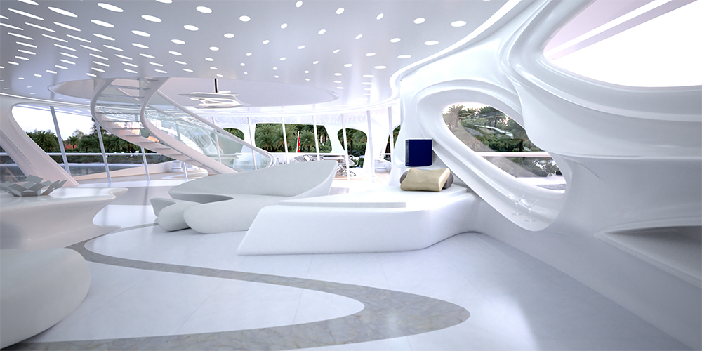 'Jazz Super Yacht' designed for German shipbuilders Blohm+Voss, Image source: Dezeen Magazine