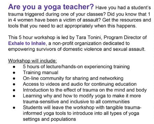 Exhale to Inhale Trauma Informed Yoga Teacher Training