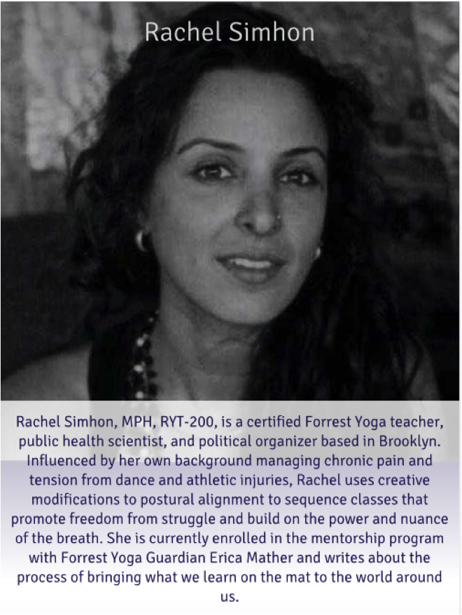 Rachel Simhon will teach a donation based class for Exhale to Inhale