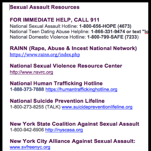 Sexual VIOLENCE Resources