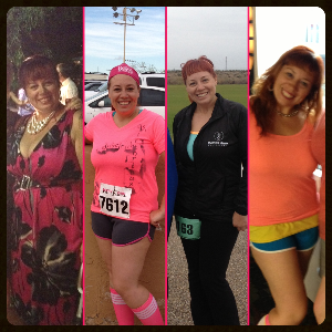 From L to R: My brother's wedding (July 2012), Dirty Girl Mud Run (October 2012), Thin Mint Sprint 5k (March 2013), Mini golf outing with friends (May 2013)