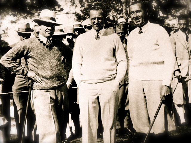 Bobby Jones  and  Walter Hagen  flank  Match of the Century  referee, 1926