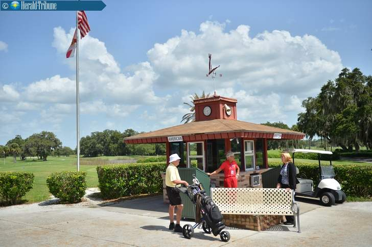 The starter's shack for the American and British courses at Bobby Jones Golf Club in Sarasota. Herald-Tribune Archive Photograph courtesy of Sarasota Herald-Tribune.