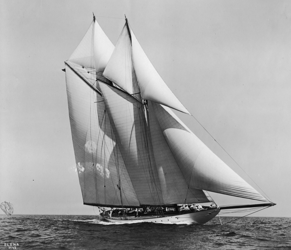 Herreshoff's 96' W. L. steel schooner yacht  Elena  (# 706) contracted for in 1910. A near sister to  Westward  (# 692). The original boats have not survived but outstanding replica's of both yachts are active in classic yacht racing.
