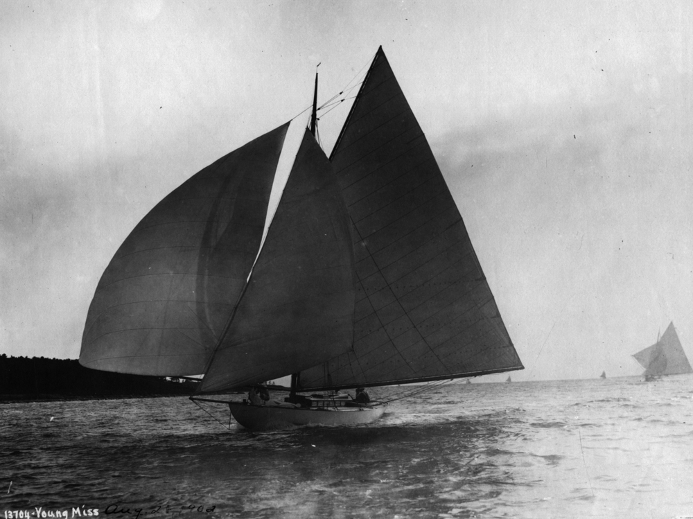 Young Miss , August 28, 1902. First boat of the Herreshoff Buzzard Bay 30s (HMCo. # 560). French and Webb conducted an extraordinary restoration program involving  Young Miss  and sisters,  Quakeress  II and  Lady M  from 2006-2008.