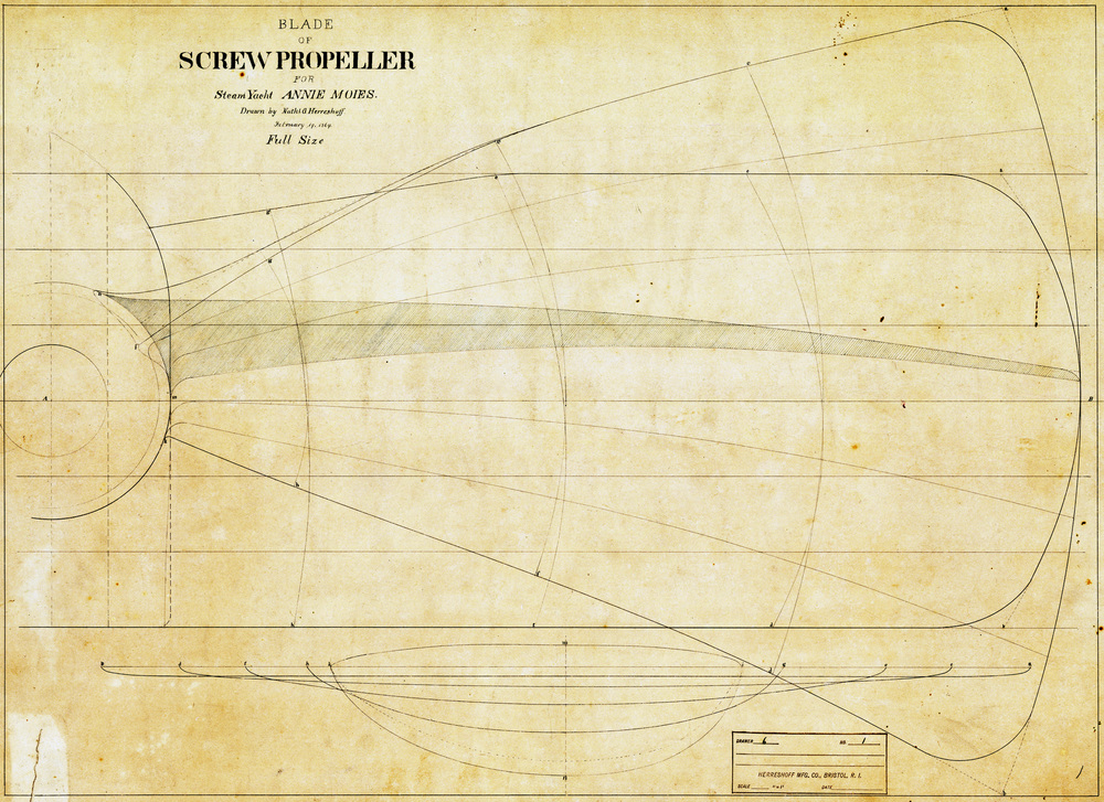 Propeller drawing for  Annie Moies  (HMCo. #1) dated February 19, 1869. This oldest dated drawing in the Haffenreffer-Herreshoff Collection by N. G. Herreshoff is evidence that he was designing for his brother J. B. while a student at MIT from 1866-1869.