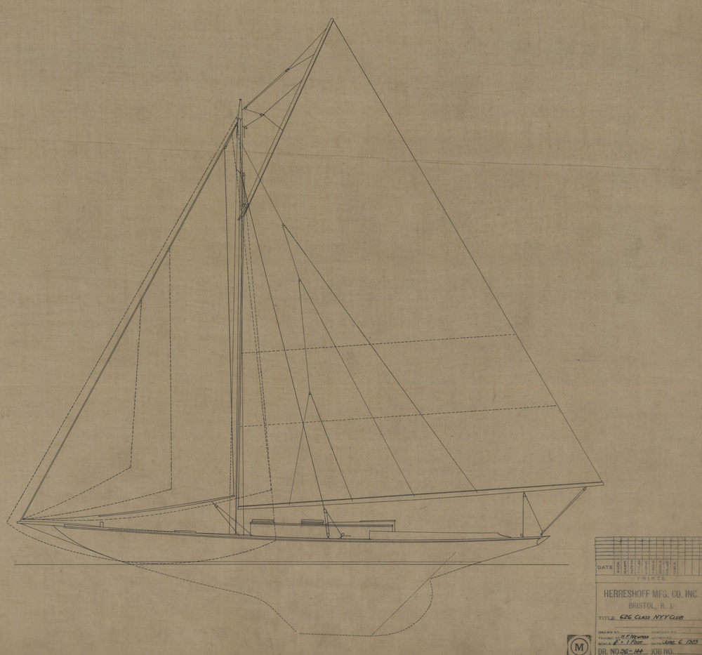 Ink on linen sail plan for the New York Yacht Club 30 (HMCo. 626). The lead boat was  Alera  which is still racing along with several other wonderfully restored and maintained sisters.