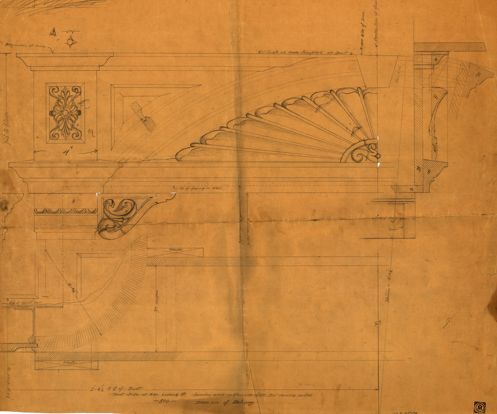 Sketch for decorative interior carving on schooner yacht  Ingomar  (HMCo. # 590). A replica of this exceptional yacht is being built in Holland.