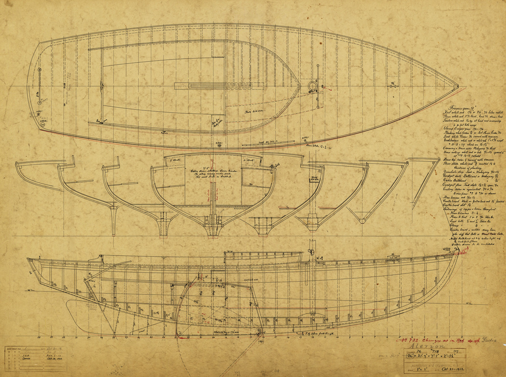 Construction plan for the legendary  Alerion  III (HMCo. 718), one of about 30 boats N. G. Herreshoff designed and built for his own use. The original boat is on display at Mystic Seaport Museum.