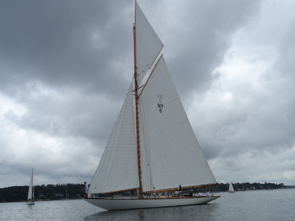 The beautifully restored New York Yacht Club 50  Spartan  (HMCo. # 712), the second boat of this class from 1912. Pictured at a gathering of Herreshoff yachts in Castine ME, 2011.