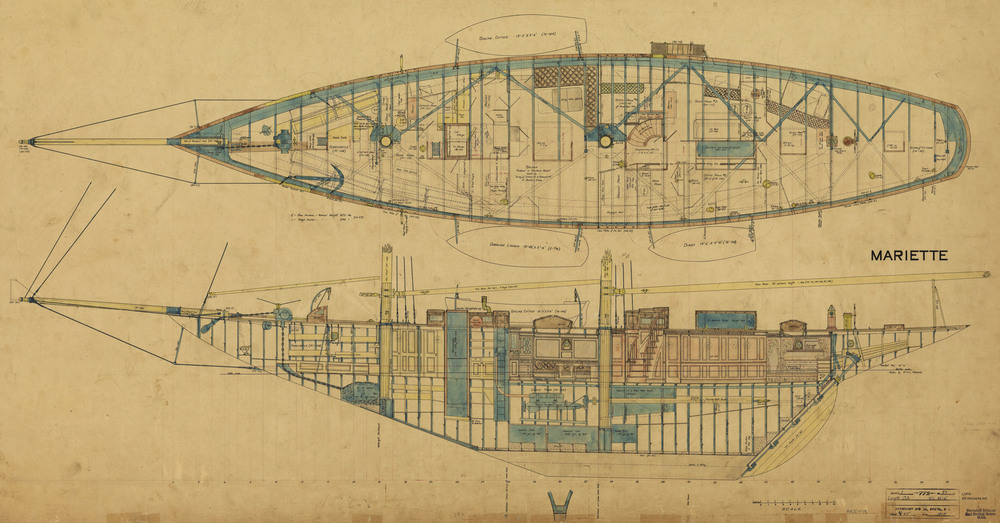 A beautiful hand colored construction and arrangement plan for the 86' W. L. schooner yacht  Mariette  (HMCo. # 772) drawn in 1915. One of several original large Herreshoff steel schooner yachts that have survived. The yacht was previous owned, substantially restored and raced by MIT Alumnus Tom Perkins.