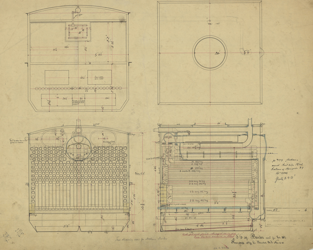 "General arrangement drawing for 5' 6"" square boiler for Judy (HMCo. # 162), a 102' steam vessel launched 1889."