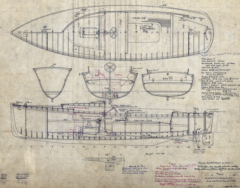 "Construction plan of a 19' 4"" motor launch for schooner yacht  Vagrant  (HMCo. # 719). This design also used for   Vagrant's  sister  Mariette  (# 772) and a later Herreshoff schooner yacht  Ohonkara  (# 827), contracted for in 1919."