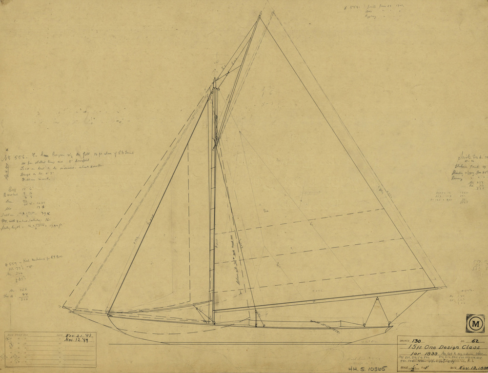 Original sail plan for speedy, agile, and popular Buzzards Bay 15 (HMCo. lead hull # 503) first contracted for in 1899 by the Beverly Yacht Club in Marion, MA. Of the 92 boats built to this class, approximately 32 still survive. Over 20 replicas of this class (including variations) have been built by contemporary builders.
