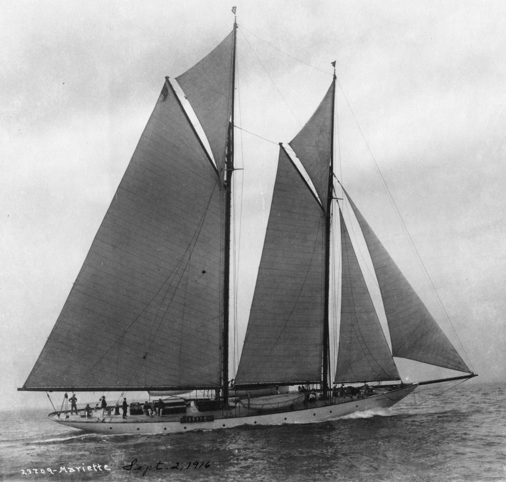 One of the few surviving original HMCo steel schooner yachts, #772, captured in the year of her launching.