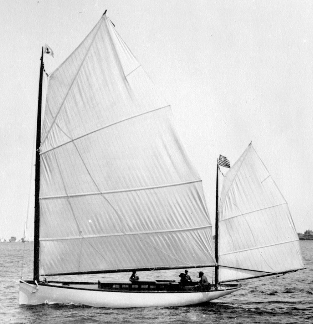 Capt. Nat at helm of  Clara , HMCo # 402, 1888.