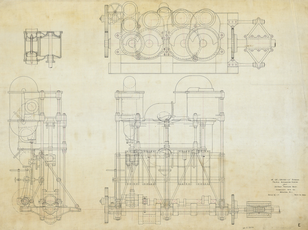 Triple expansion steam engine fro 30 knot torpedo boat  Porter , HMCo # 184, 1895.