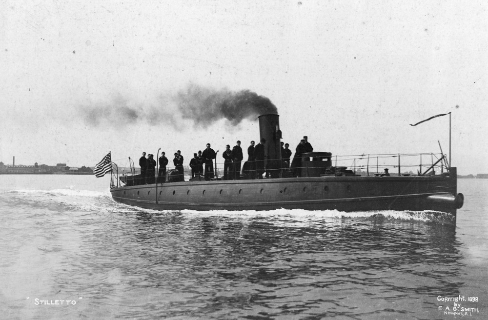 HMCo # 118, torpedo boat type yacht  Stiletto , built in 1885, purchased by US Navy in 1887 and modified with first ever bow launching torpedo tube.