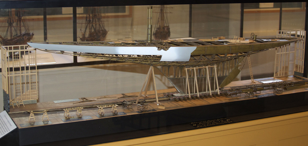 "CNC model of 1901 America's Cup winner,  Reliance , HMCo # 605. Model by Richard ""Frenchy De Vynck. Commissioned for MIT Museum by Mr. & Mrs. John K. Dema."