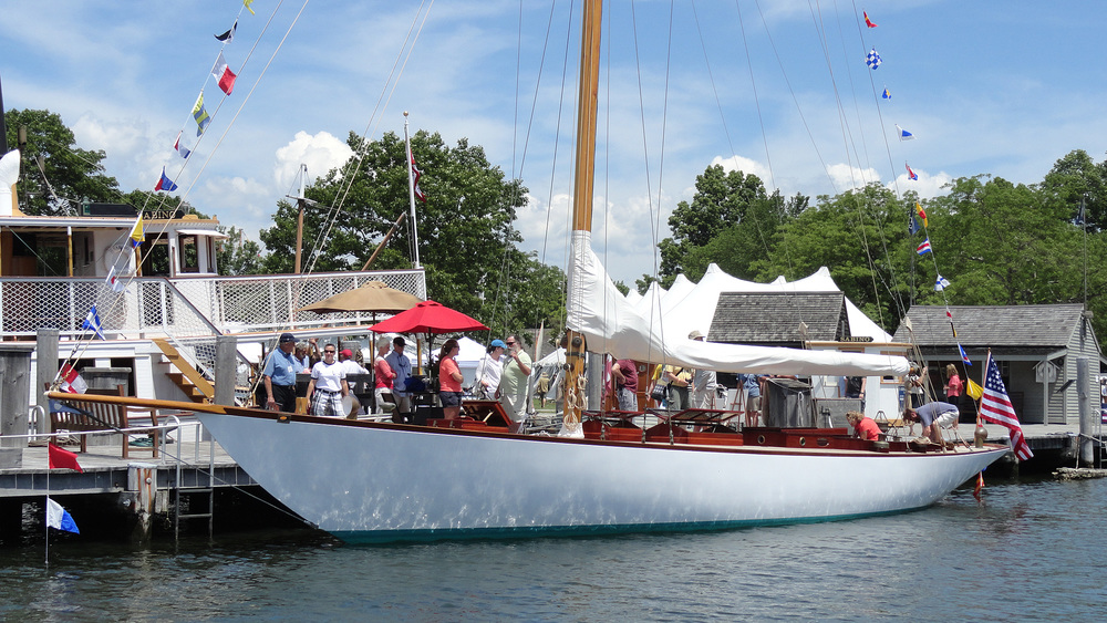 The beautifully restored  Neith , HMCo # 665 of 1904 at the WoodenBoat show at Mystic Seaport Museum, June 2014.
