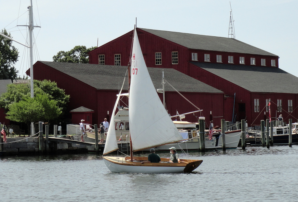 Buzzards Bay 12 1/2 footer  Shadow  (ex.  Betty ), HMCo # 1163 of 1930 at WoodenBoat Show, June 2014.