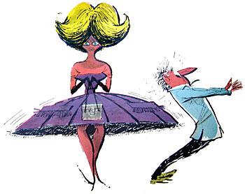 """QUANDO Divito viu as mulheres de Copacabana, fêz cara de espanto:""""Deus me livre"""". Em realidade. pedia a Deus exatamente o contrário.""""Que fartura de sereias"""", exclamou como bom portenho. Porque as mulheres de Copacabana (as mulheres do Rio, enfim) são uma loucura. Assimilam com facilidade a moda mundial. Paris para elas não tem segredos. Só que levam dentro dos últimos modelos e debaixo de frondosas cabeleiras o corpo mais belo e curvilíneo que Divito jamais havia fixado em seus desenhos.  No engarrafamento das ruas circulam milhares de automóveis norte-americanos do último tipo, com suas côres berrantes e suas curvas exageradas. Verdadeiras barbatanas de tubarão. E que pode fazer um pobre pedestre de olhos esbugalhados nesse mar revôlto? Só Divito pode dizê-lo bem."""