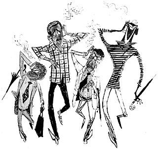 O TRANSISTOR é hoje uma doença da moda. O carioca moreno e despreocupado já o incorporou `a sua vida. Indo para o trabalho, ou voltando do trabalho, está sempre com um rádio portátil. No ônibus, no cinema, na praia, para ouvir música ou futebol, o transistor é o maior amigo do carioca. E assim Divito o viu, como igualmente viu a preta brilhante e volumosa carregando a trouxa de roupa na cabeça. Sob sol ou debaixo de chuva, a lavadeira é um ponto obrigatório na paisagem de Copacabana.