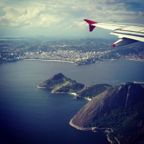Vista linda da Cidade Maravilhosa Vôo Tam
