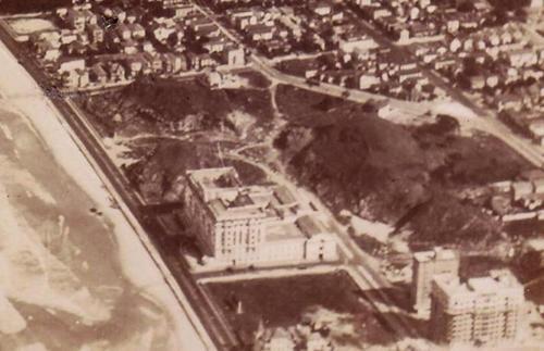 Vista aérea de Copacabana, em detalhe o Hotel Copacabana Palace