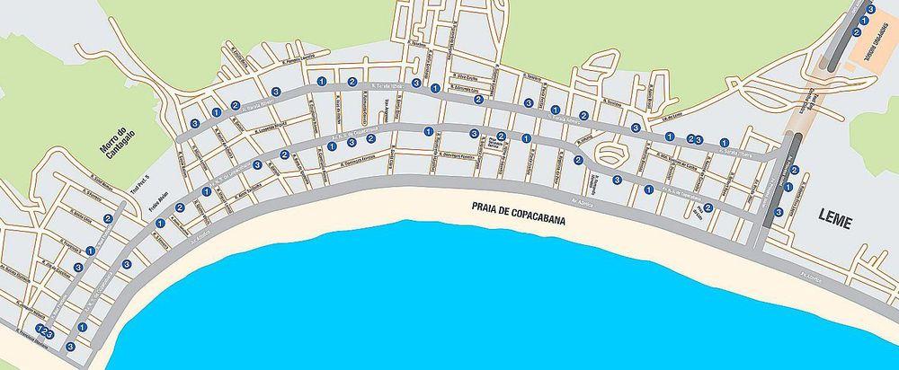 Mapa de Copacabana com as estações BRS