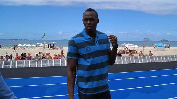 Multicampeão olímpico Usain Bolt em Copacabana
