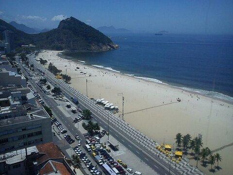 Praia de Copacabana vista da janela do Hotel
