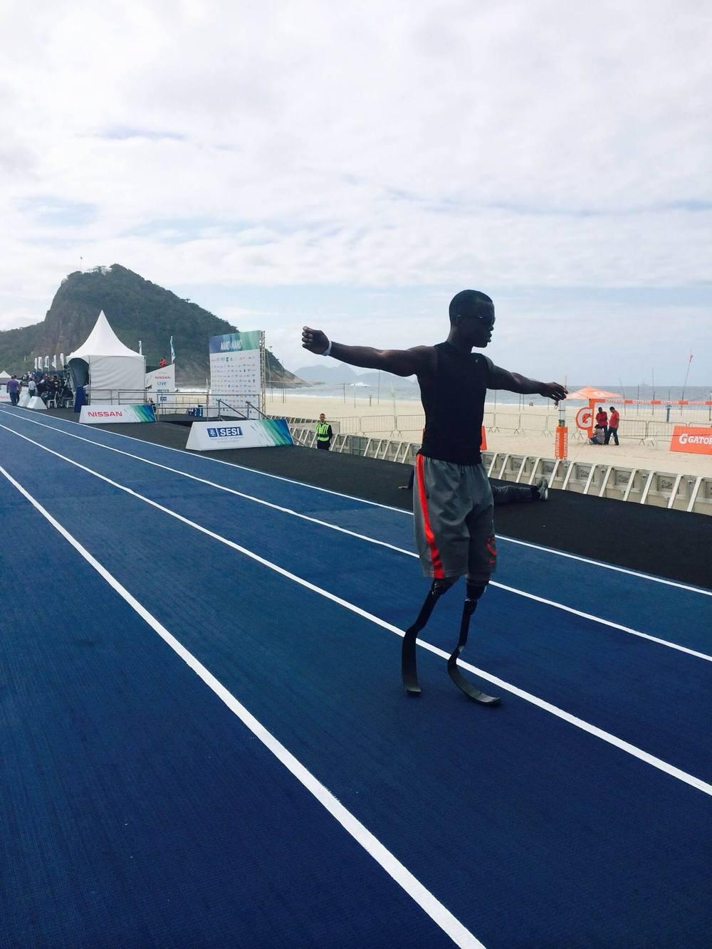 Velocista Paralímpico Blake Leeper em Copacabana