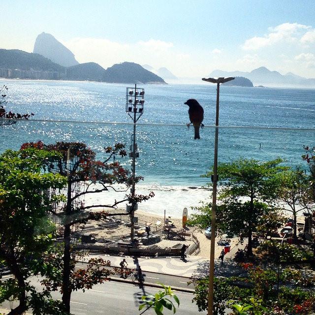 Vista da Praia de Copacabana da janela do Hotel