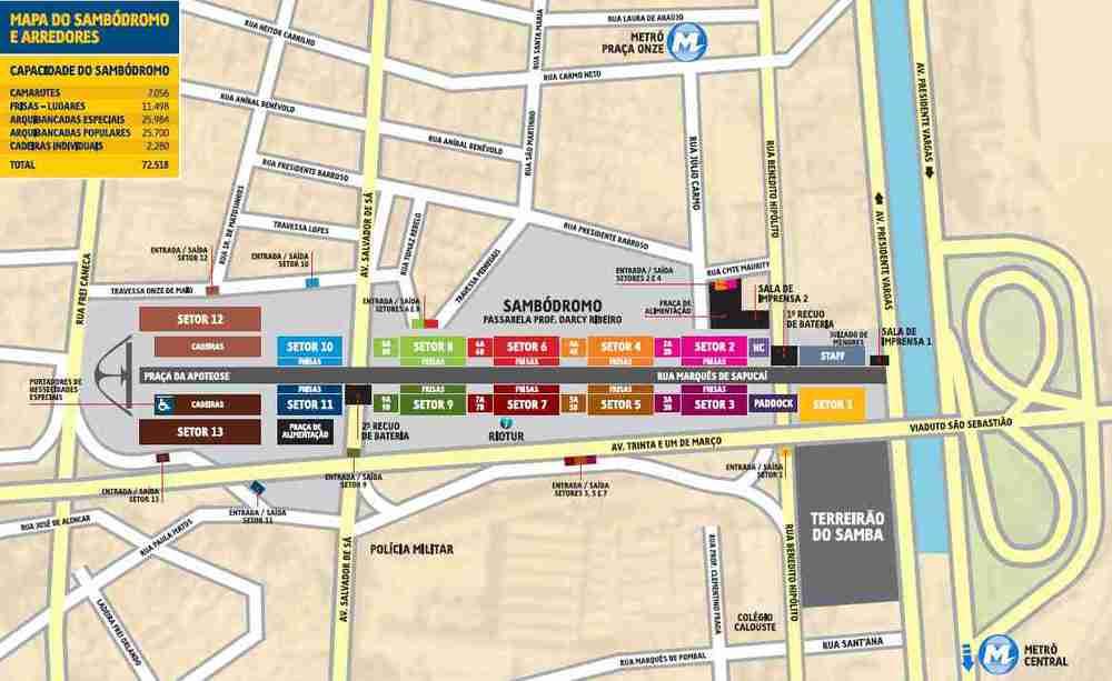 Mapa da região do Sambódromo na Avenida Marquês de Sapucaí