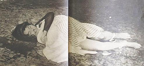 O corpo de Aida Cury caido na Avenida Atlântica
