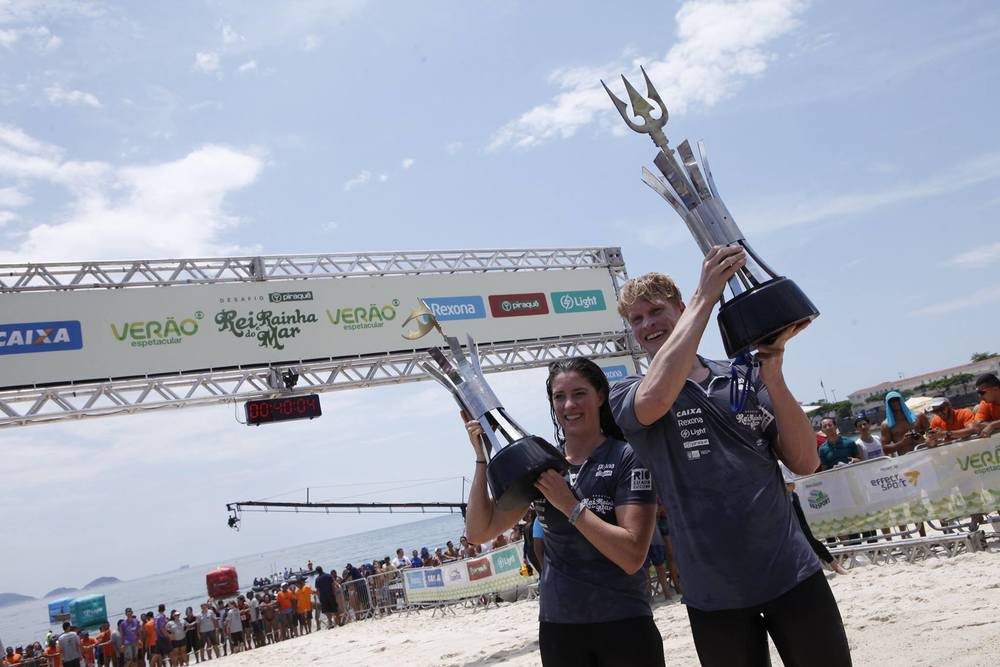 Christine Jennings e Chip Peterson vencedores do Rei e Rainha do Mar 2015 em Copacabana